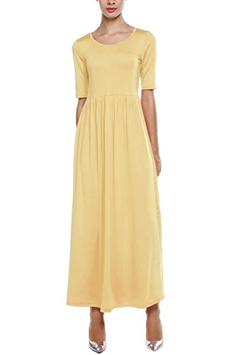 Meaneor Women Long and 3 4 Sleeve Solid Plus Size Maxi Long Evening Party Dress (XL, Yellow) (Yellow And Gray Maxi Dress)