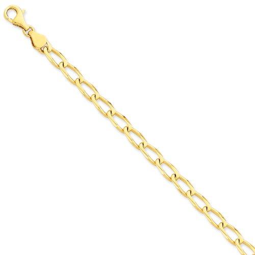 14 carats - 6 mm-poli à la main à ouvrir le lien Chain Bracelet-JewelryWeb 7 cm