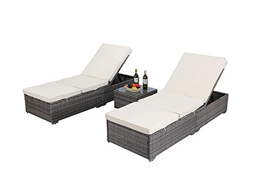 Do4U 3 Pcs Outdoor Patio Synthetic Adjustable Rattan Wicker Furniture Pool Chaise Lounge Chair Set with Table (6003-GY)