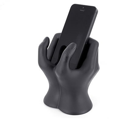 Mobile Phone Book - The Art of Hand Mobile Phone Holder (Black Matte Finish) by ARAD