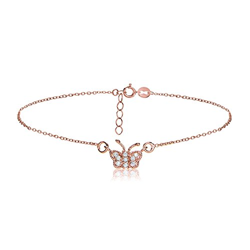 Hoops & Loops Rose Gold Flash Sterling Silver Cubic Zirconia Butterfly Chain Anklet