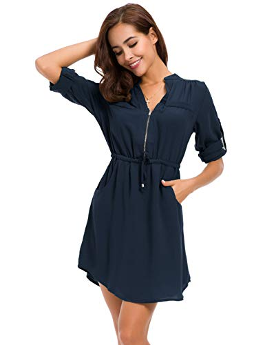 MOQUEEN Womens Casual Chiffon Shirt Dress Long Sleeve Drawstring Roll-up Blouses Front Zipper Pocket Navy Blue