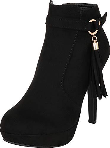 Cambridge Select Women's O-Ring Tassel Chunky Platform Stiletto High Heel Ankle Bootie,8.5 B(M) US,Black IMSU