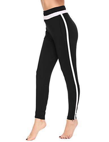 Ekouaer Women's Stretch Striped Leggings High Waist Elastic Wasitband Yoga Running Leggings
