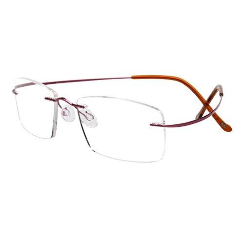 LianSan Brand Designer Titanium Unisex Eyeglasses Frames Men Women Clear Lens lmo-013 (purple titanium - Brands Eyeglasses Titanium