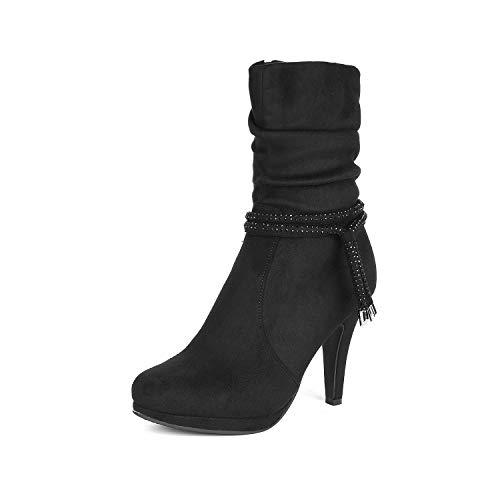 DREAM PAIRS Women's VIVI Black Mid Calf High Heel Boots Size 6 B(M) US