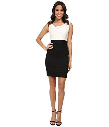 Nicole Miller Women's Asymmetrical Cowl Two-Tone Dress Bl...