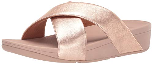 FitFlop Women's LULU Cross Slide Sandals-Leather, Rose Gold, 11 M US