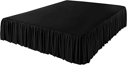 Angel Bedding 3 Side Coverage Ruffle/Gathered Bed Skirt with 13 Inch Drop Length (Twin, Solid Black) 1800 Series Brushed Microfiber - Covers Bed Legs and Frame