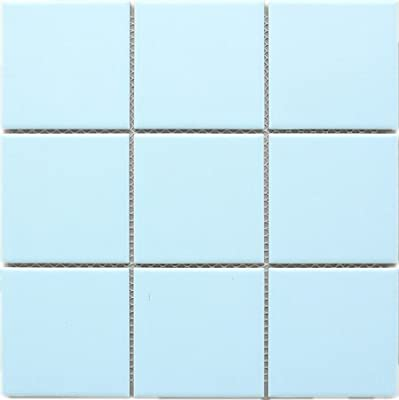 "4"" x 4"" Square Baby Blue Light Blue Porcelain (Matt Finish) Floor & Wall Tile Mosaic Tile 11-3/4 in. x 11-3/4 in. x 6mm (Thickness) 1 Sheet=0.97 sqt"