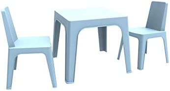 resol Julieta set infantil de 2 sillas y 1 mesa para interior, exterior, jardín - color azul cielo: Amazon.es: Hogar