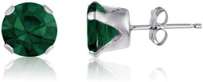 Greem Emerald Glass Set in 4-Prong Sterling Silver Setting Stud Earrings 2mm