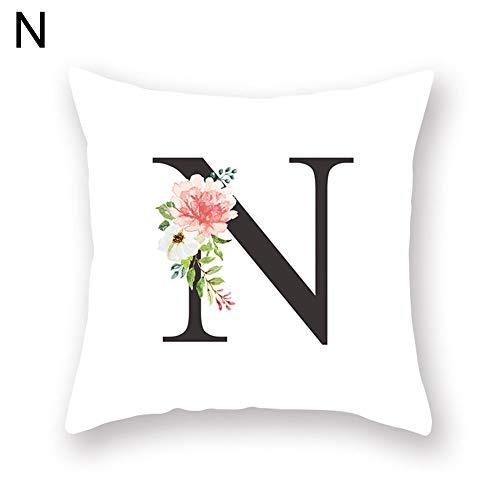 millet16zjh A-Z Capital Letter Flower Pillow Case Sofa Waist Throw Cushion Cover Home Decor - N ()