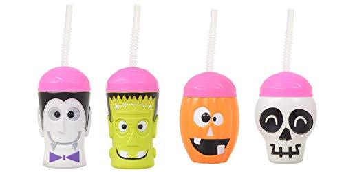 Plastic Halloween Tumblers (Halloween Plastic Cups With Straws - Pumpkin - Skeleton - Dracula Vampire - Frankenstein - Set of 4-16)