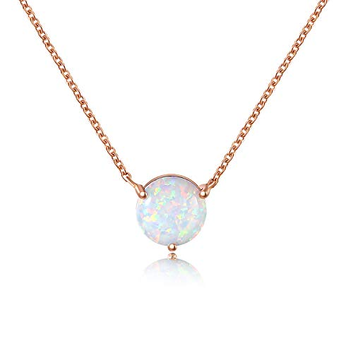QUINBY Created Opal Pendant Necklace for Women Rose Gold Plated Dainty Necklace Opal Jewelry for Women 8mm ()