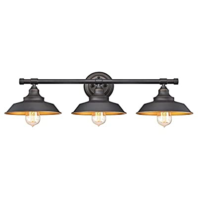 Westinghouse Lighting 6344900 Iron Hill Three-Light Indoor Wall Fixture, 3, Oil Rubbed Bronze/Bronze - Vintage industrial-style three-light wall fixture with rich Oil Rubbed Bronze finish with highlights Metal shades with metallic Bronze finish inside directs light down perfect for tasks and ambience. Height from Center of Outlet Box 2.56 inches, Back Plate: D: 5.13inches 7-3/4 inches in height; 29-1/16 inches in Width; extends 9-5/8 inches from wall - bathroom-lights, bathroom-fixtures-hardware, bathroom - 31Te62sB%2B9L. SS400  -