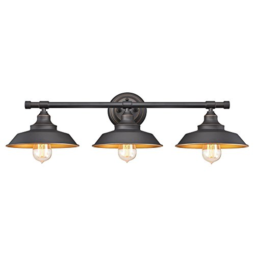 Two Tone Bath Light - Westinghouse 6344900 Iron Hill Three-Light Indoor Wall Fixture, Oil Rubbed Bronze Finish with Highlights
