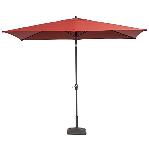 Hampton Bay 10 ft. x 6 ft. Aluminum Patio Umbrella with Push-Button Tilt (Chili)