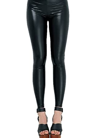 Route 3 Black Faux Leather Wet Look Leggings (Small)