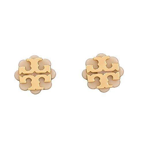 Tory Burch Logo Flower Resin Stud Earrings Light Oak Gold