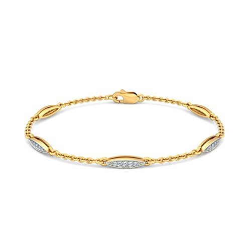 Or jaune 18 K, 0,21 CT TW Round-cut-diamond (Ij| SI) Identification-bracelets