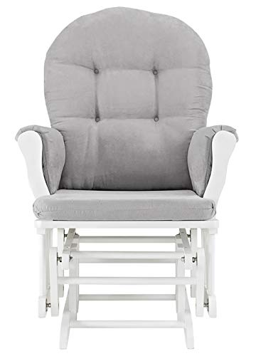 31Te8HK%2BHkL - Windsor Glider And Ottoman, White With Gray Cushion
