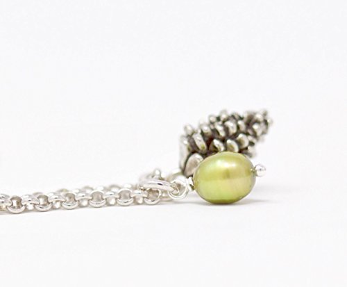 Pine Cone and Pearl Charm Necklace on a Sterling Silver Chain