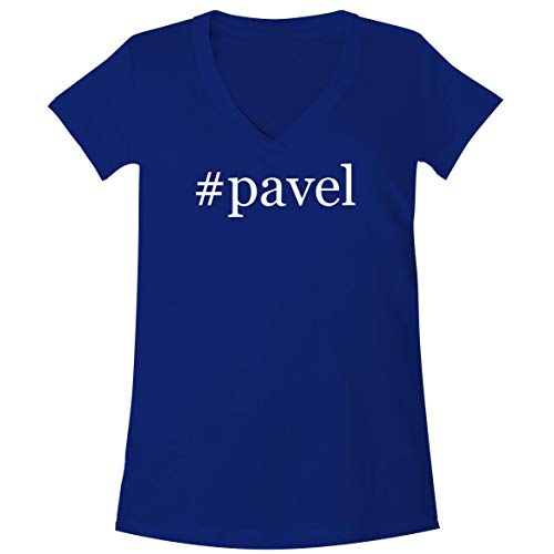 - The Town Butler #Pavel - A Soft & Comfortable Women's V-Neck T-Shirt, Blue, Small
