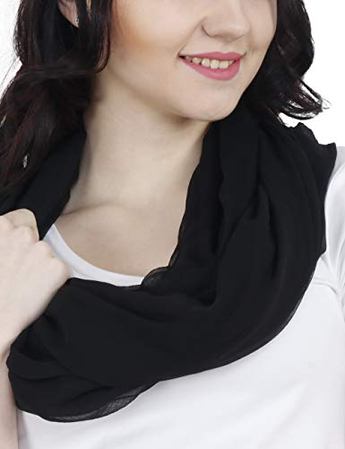 (TC Solid Color Soft Lightweight Chiffon Silk Feel Luxury Infinity Scarf India (Black))