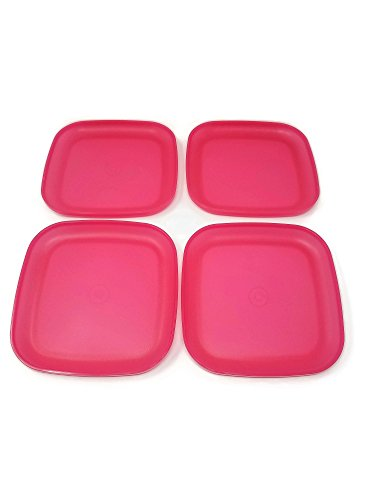 Vintage Tupperware Set of 4 Square Pink Luncheon Plates 8 Inches