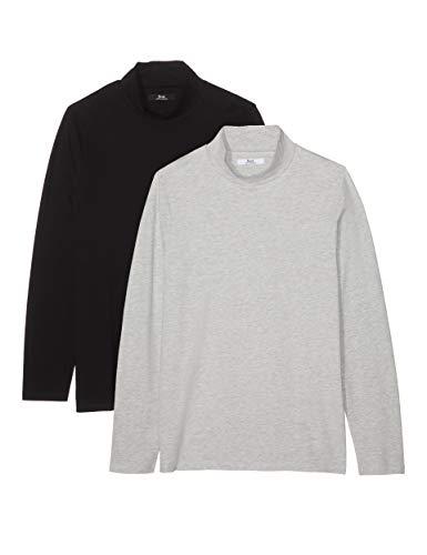 - find. Men's Long Sleeve Cotton Turtleneck, Pack of 2, Multicolor (Grey Marl/Black) S