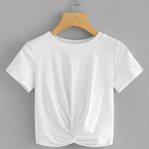 Taille noue Manches Classique Longues Uni Chemisier Chemise Women Kanpola Blanc Col Femme ntwqEx46A8