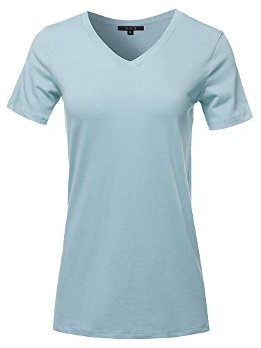 Basic Solid Premium Cotton Short Sleeve V-Neck T Shirt Tee Tops Ash Blue 1XL