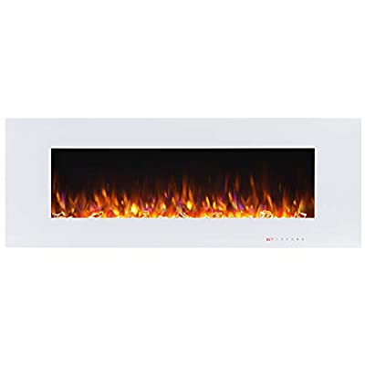 Valuxhome Luxey 750W/1500W, Wall Mounted Smokeless Electric Fireplace, Touch Screen Control Panel with Remote, Logsets and Crystals