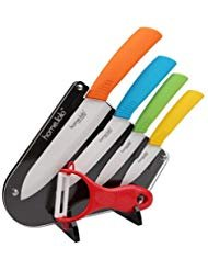 """Home lolo Premium Quality Kitchen Ceramic Knife Set 3"""" 4"""" 5"""" 6"""" inch Zirconia White Blade Fruit Vege Cooking, best Christmas Gift (with Multicolor ABS Handle and Knife Stand)"""
