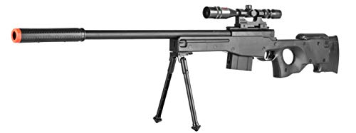 (AirSoft P2703B L96 Black Spring Sniper Rifle Bolt Action AWP with Scope)