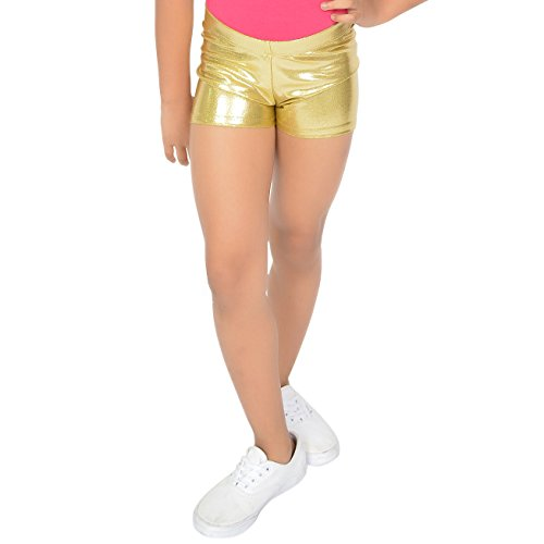 (Stretch is Comfort Girl's Dance Cheer Mystique Booty Shorts Gold X Large)