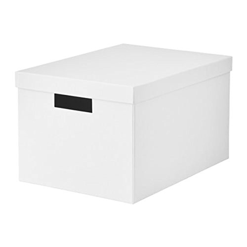 IKEA Tjena Storage Box With lid White 603.954.28 Size 9 ¾x13 ¾x7 ¾ (Tjena Storage Box)