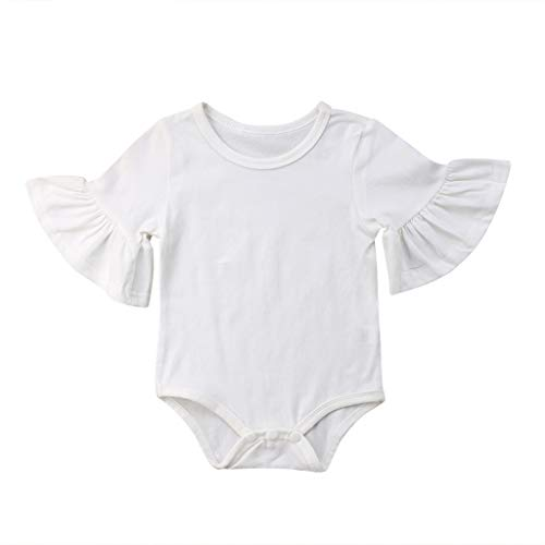 - Lovely Infant Baby Girl Floral Jumpsuit Flare Horn Romper Cotton Outfits Clothing Sunsuit White 24M