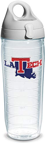 Tervis 1080969 La Tech University Emblem Individual Water Bottle with Gray lid, 24 oz, Clear