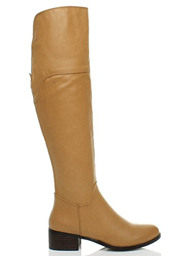 Jaune équitation Camel hiver zip talon moyen taille zip mi plat Ajvani genoux hautes Femmes Tan bottes hiver hautes xZqRF5wg8
