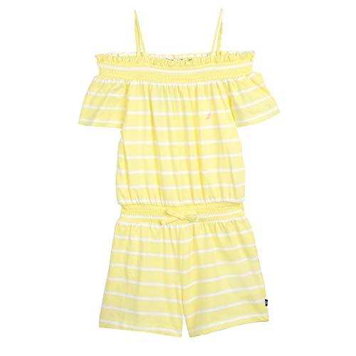 Nautica Toddler Girl's Fashion Romper Dress, lemonade stripe, 3T