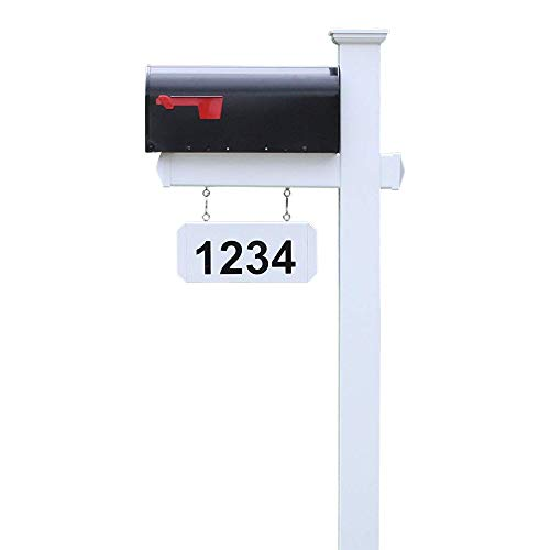 4EVER The Harrison Vinyl/PVC Mailbox Post (Includes Mailbox) Complete Decorative Curbside Combo Mailbox System with Classic Traditional Style (Black Mailbox)