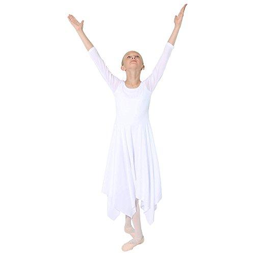 Danzcue Girls Celebration Of Spirit Long Sleeve Dance Dress, White, L/XL