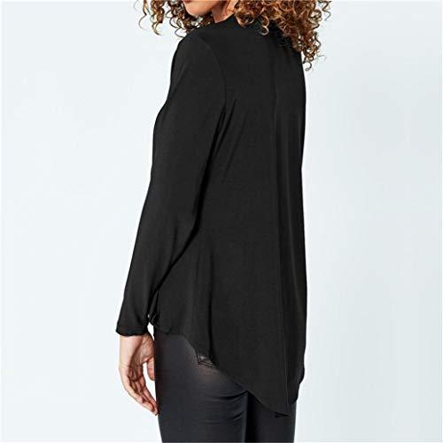 V Dames LGRe Blouse Shirt Solide Bureau Col Manches Top Profonde Tops Longues Noir Womens Mousseline VJGOAL De en Mode T Soie 4xwv6TUnq1