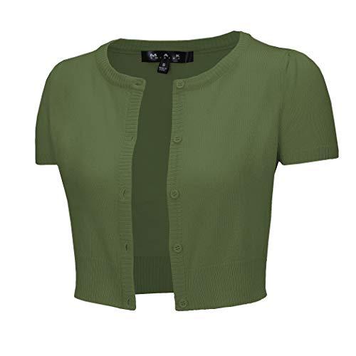 YEMAK Women's Cropped Bolero Button Down Short Sleeve Cardigan Sweater CB0536-SAG-S