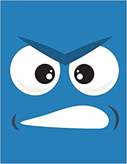 Emoji Face Notebook Blue Angry Square Face Journal Lined Ruled Page