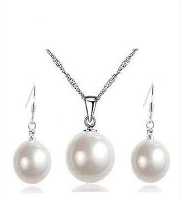 FidgetFidget 14mm White Sea Shell Pearl Wedding Pendants Necklace & 10mm Earrings Set AAA ()