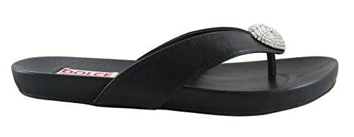 Dolce Women's Black Flat Post Tease Sandal Toe z6z7f