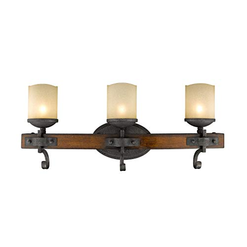 (Golden Lighting Madera 3 Light Bath Vanity in Black Iron w/Toscano Glass )